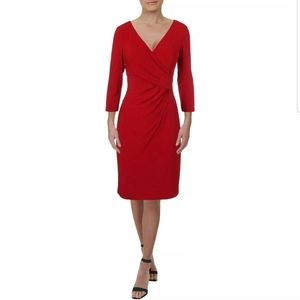 Ralph Lauren Red Faux Wrap Ruched Cocktail Dress